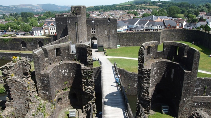 Caerphilly Castle view from gatehouse
