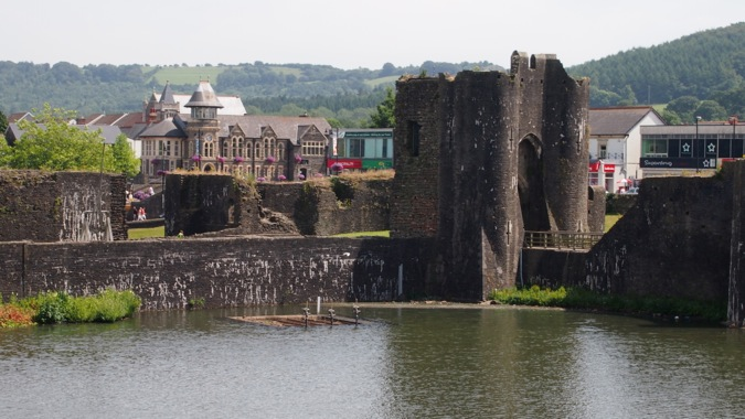 Caerphilly town, nestled behind the castle