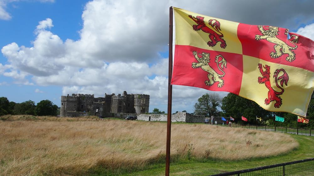 Flags infront of Carew Castle