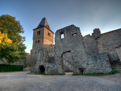 Wide view of Frankenstein Castle remains