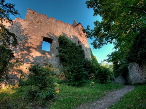 Wide view of Frankenstein Castle ramparts