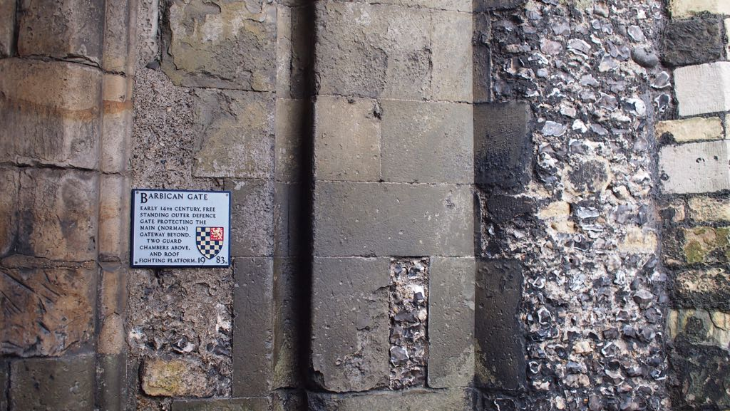 Markings of a great gate within Lewes Castle
