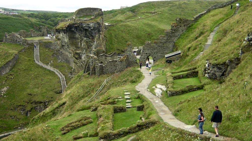 Tintagel Castle across island and mainland